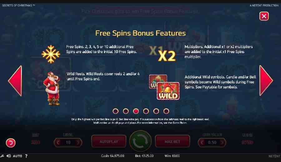 Secrets of Christmas Free Spins Bonus Feature Screen