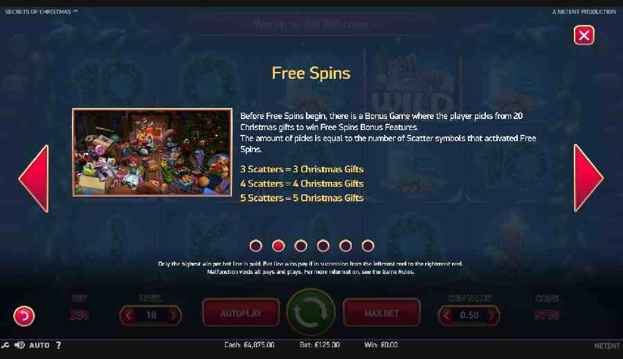 Secrets of Christmas Free Spins Value Screen