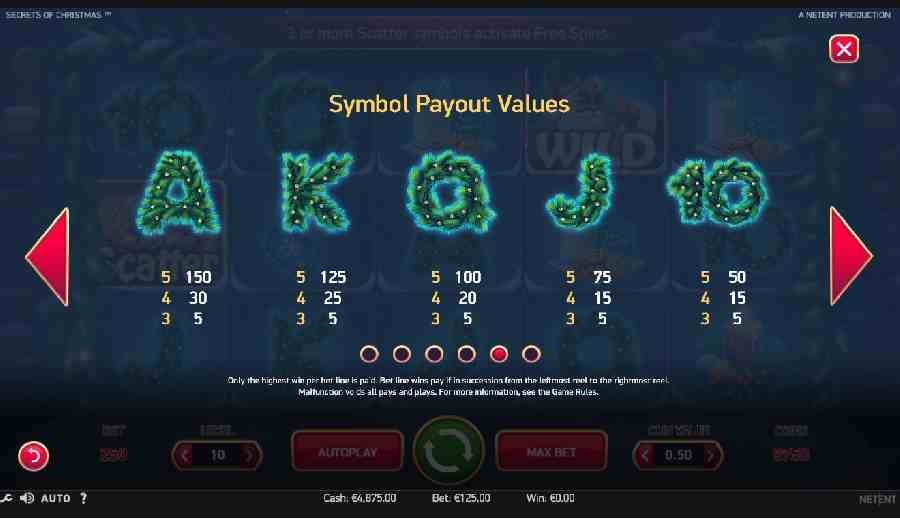 Secrets of Christmas Icon Symbols Paytable Screen