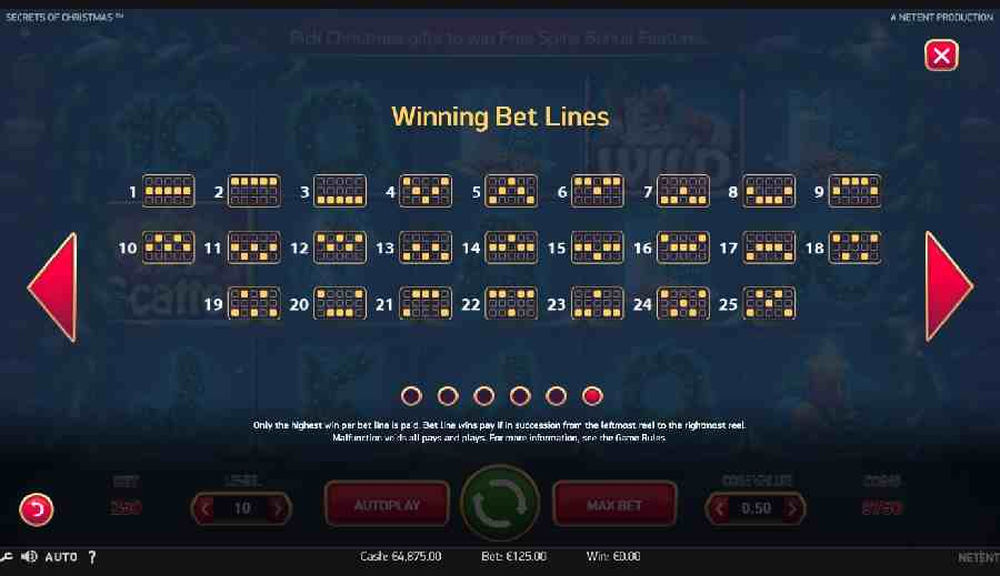 Secrets of Christmas Wining Bet Lines Screen