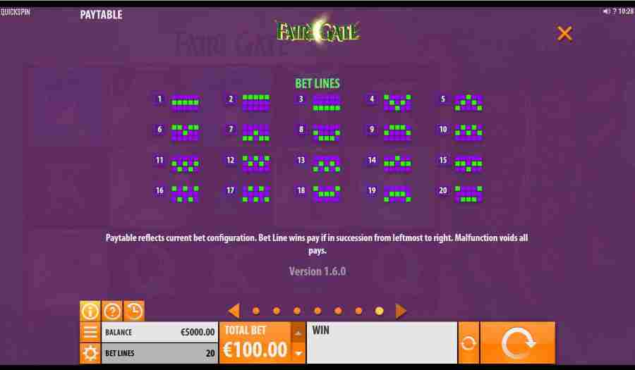 Fairy Gate Win Pay table