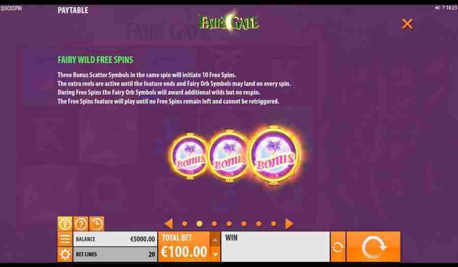 Fairy Gate Wild Free Spins Feature