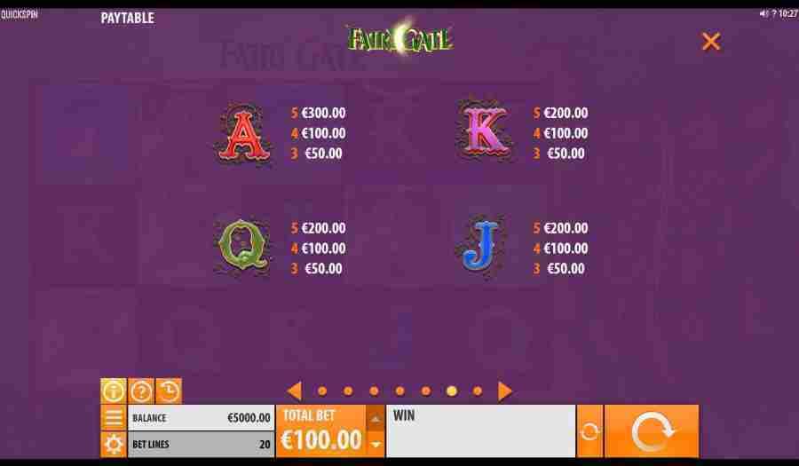 Fairy Gate Card Symbols Paytable
