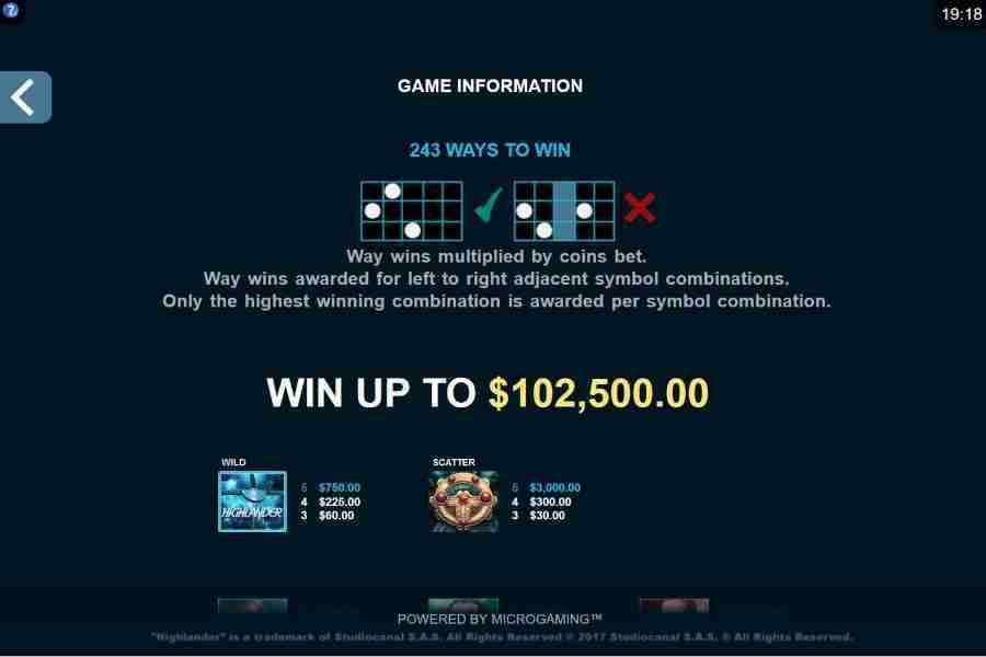 Highlander 243 Ways Paytable Screenshot