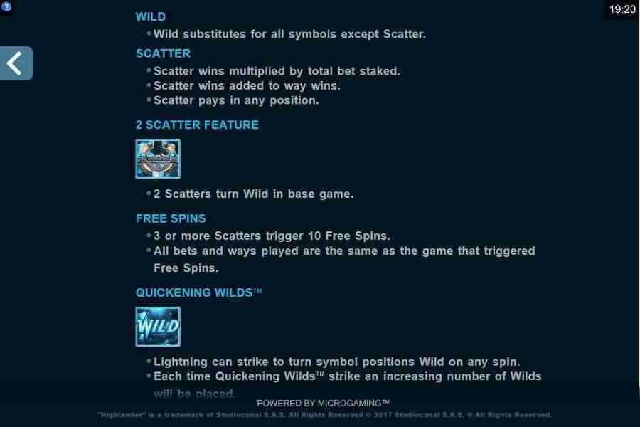 Highlander Bonus Symbols Paytable Screenshot