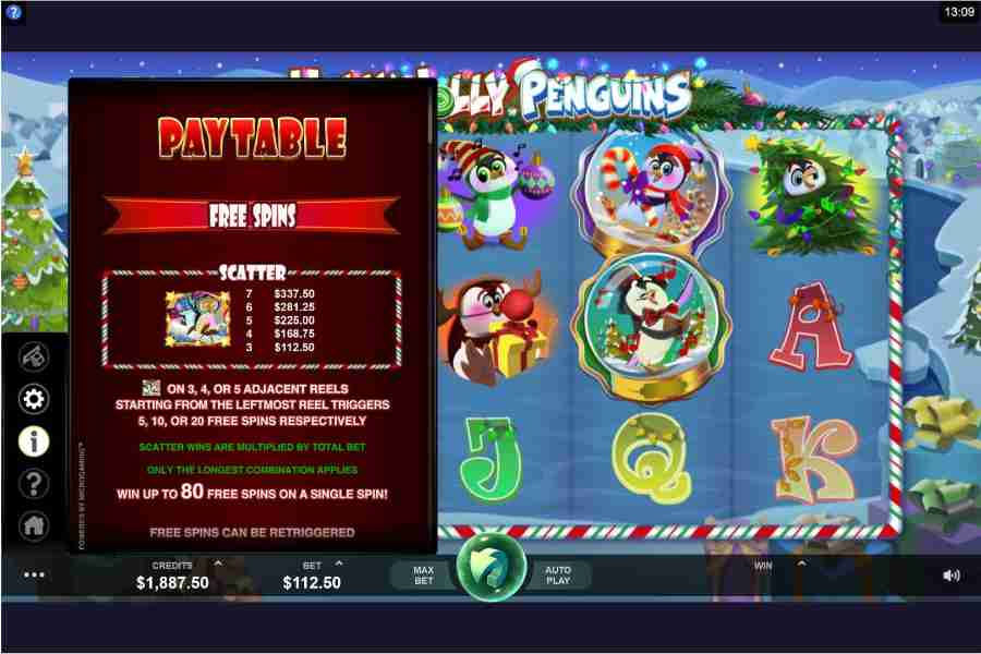 Holly Jolly Penguins Scatter Free Spins