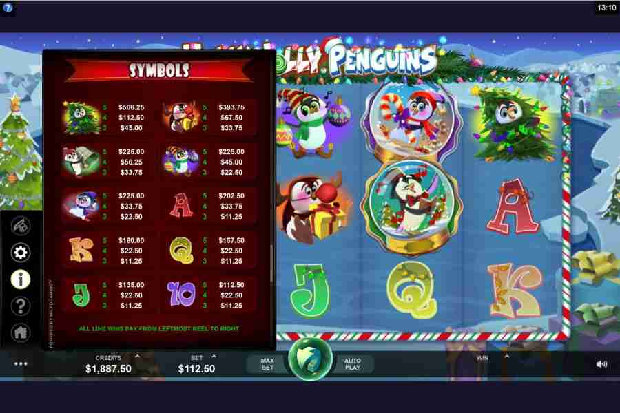 Holly Jolly Penguins Symbols Paytable