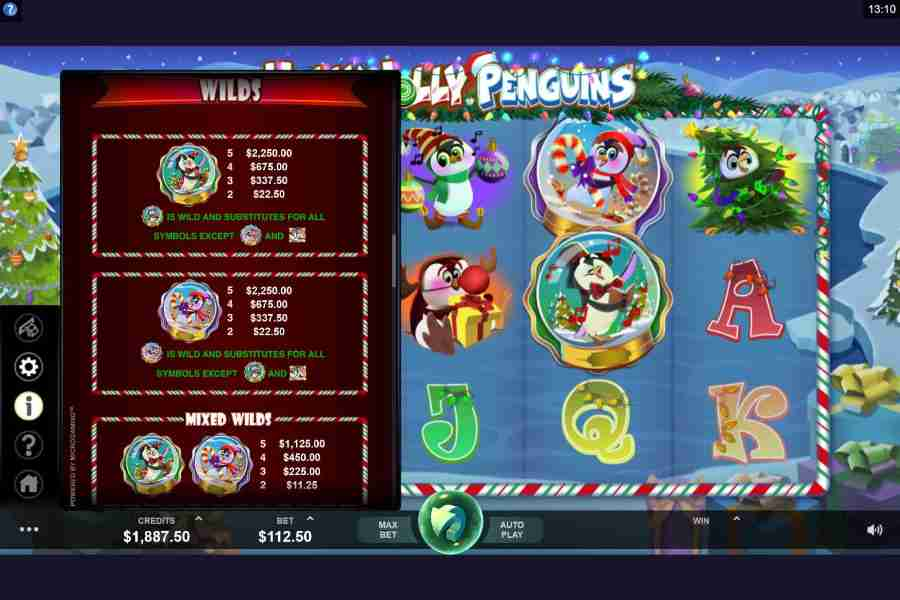 Holly Jolly Penguins Wild Symbol Paytable
