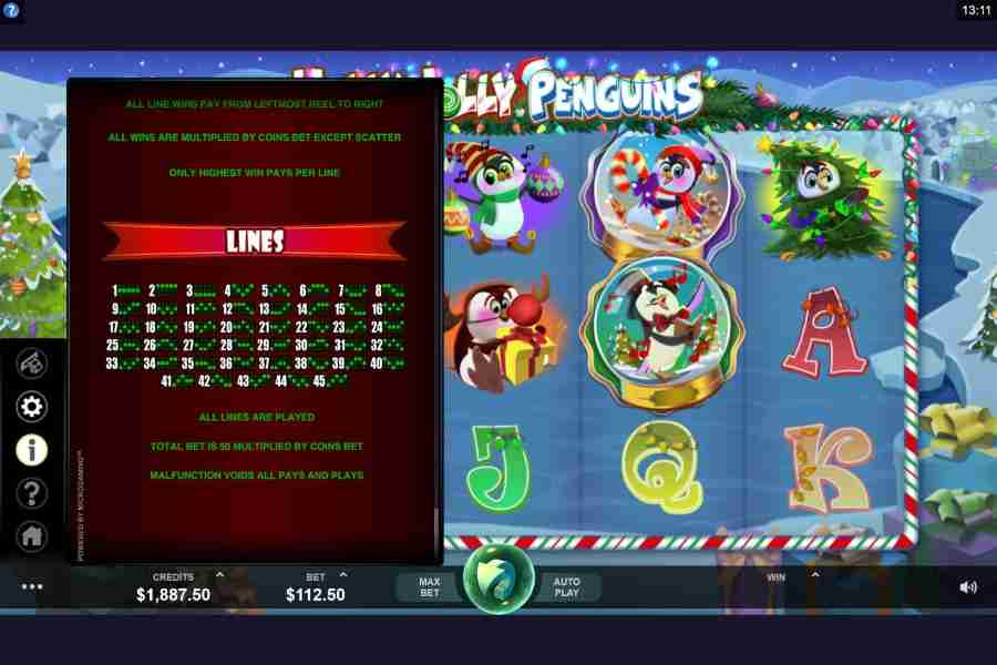 Holly Jolly Penguins Winning Pay lines