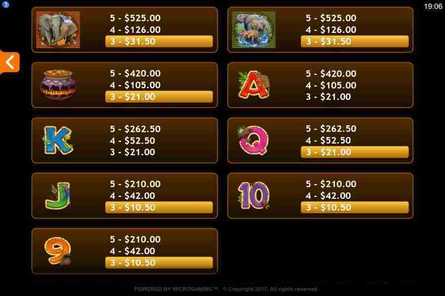 Paytable Screenshot