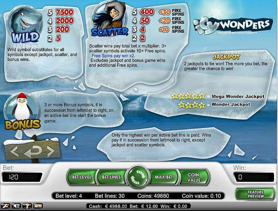 Icy Wonders Bonus Table