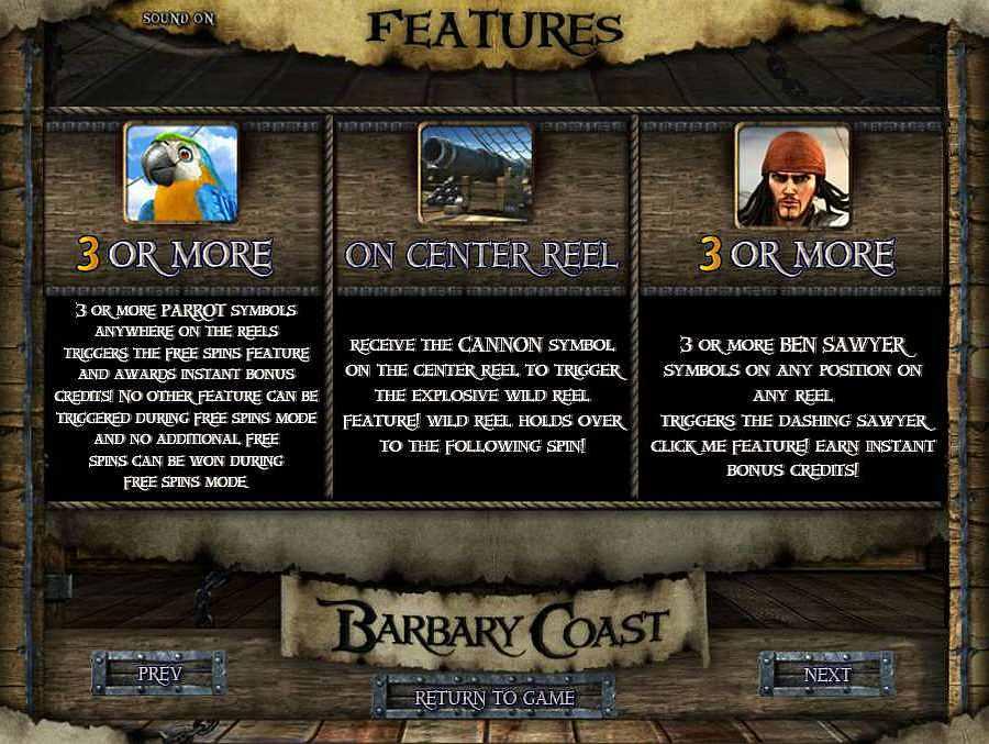 Barbary Coast Bonus Features