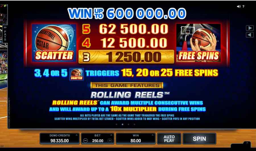 Basketball Star Rolling Reels Feature