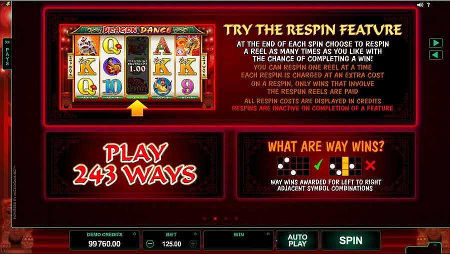 Dragon Dance Slots 243 Ways Play Screen