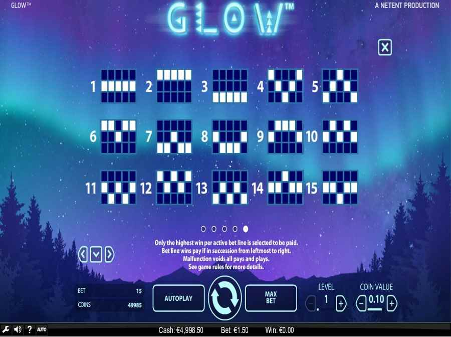 Glow Winning Pay lines