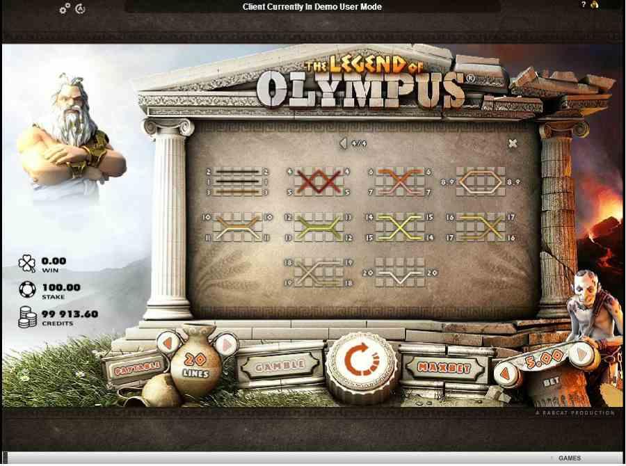 Legend of Olympus Winning Pay Lines
