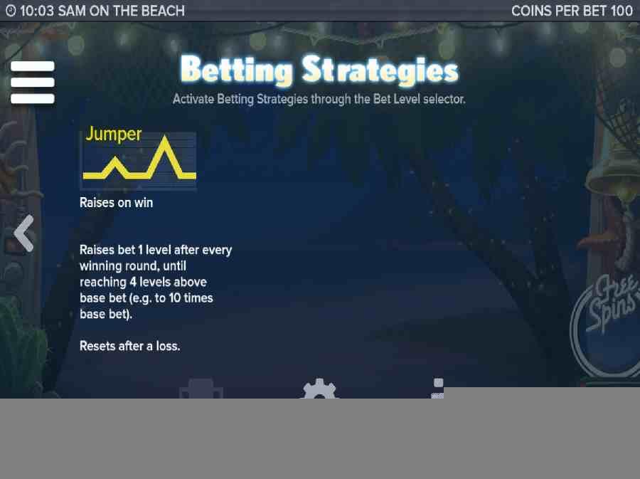Sam On The Beach Betting Strategies Screen