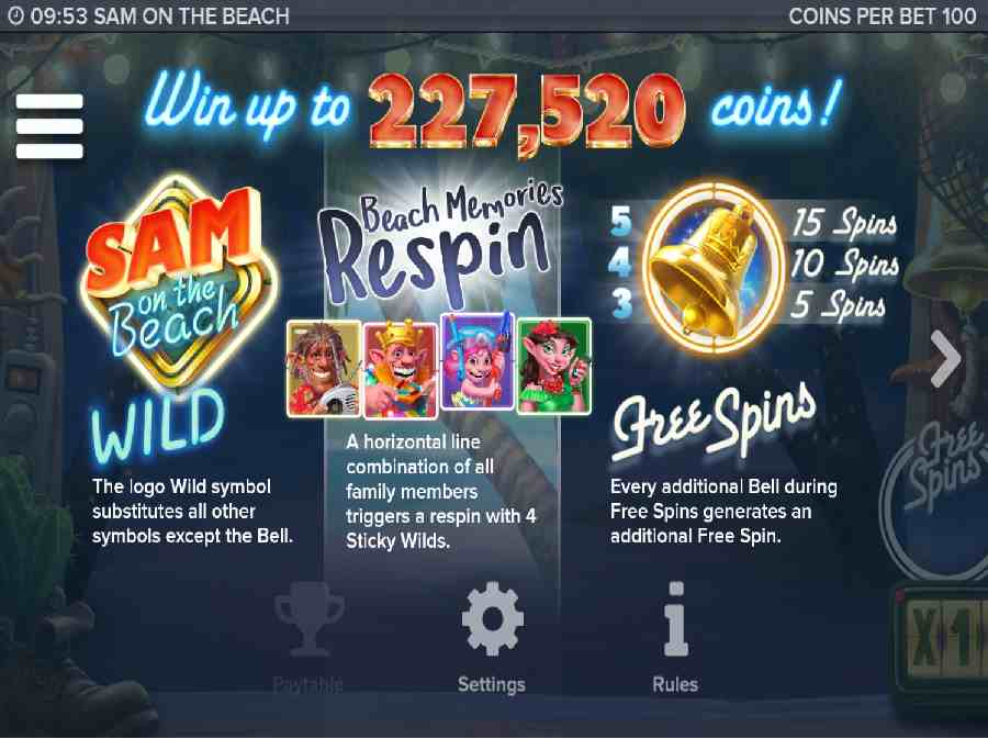 Sam On The Beach Free Spins Screen