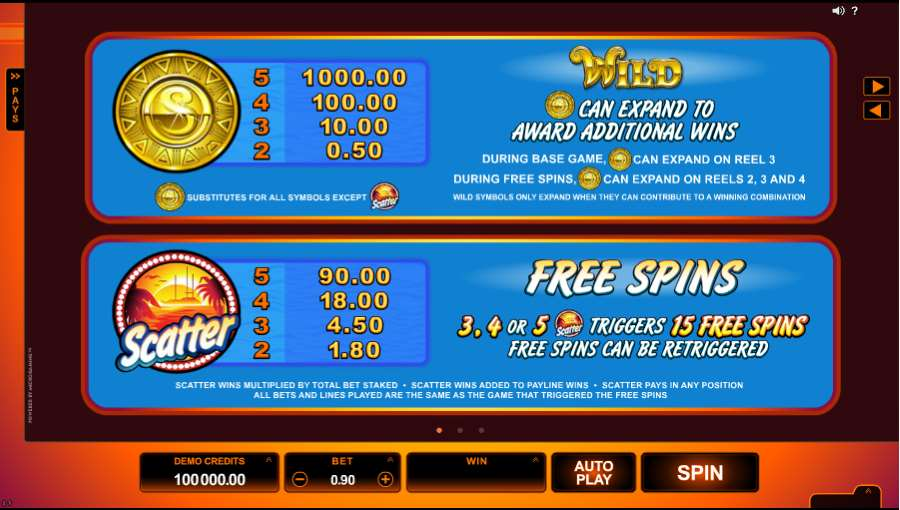 SunTide Free Spins Table Value