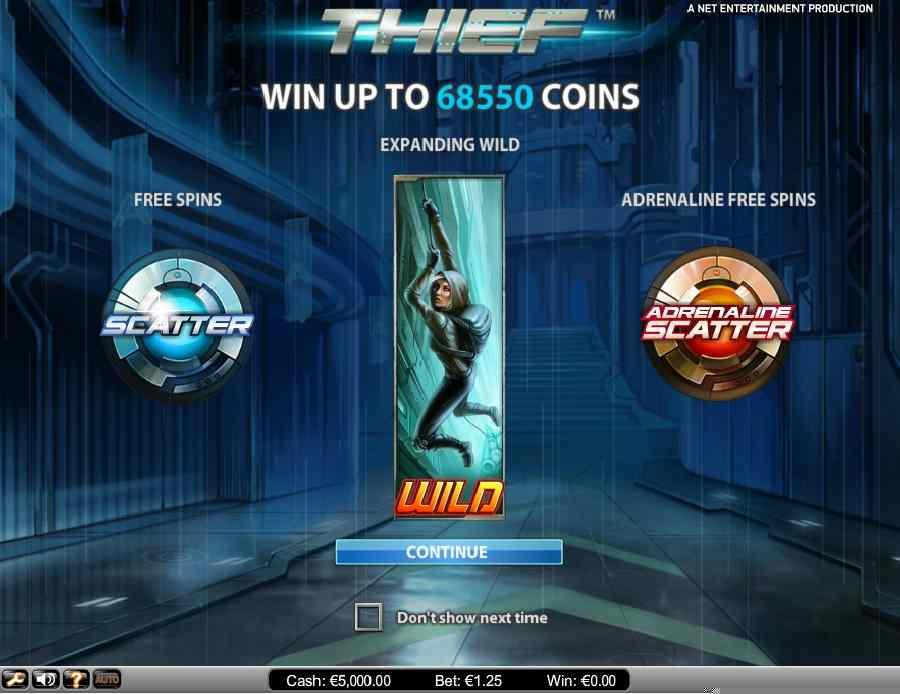 Thief Slot Splash Screen