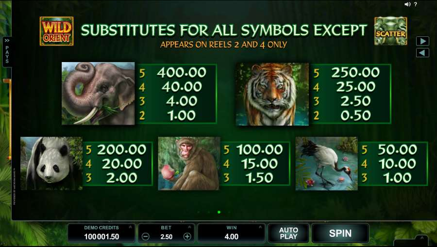 Wild Orient Symbols Paytable