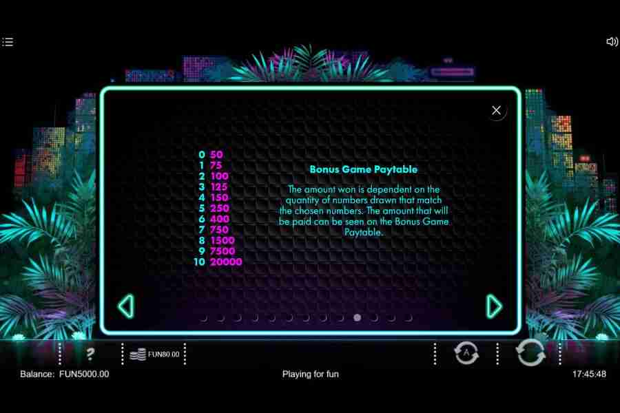 Neon Jungle Bonus Game Paytable