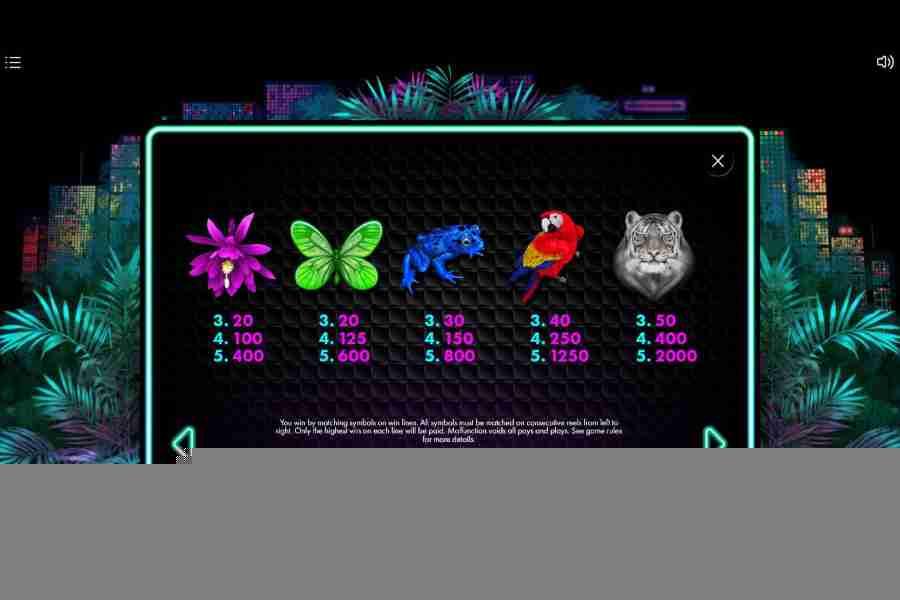 Neon Jungle Symbols Pay table