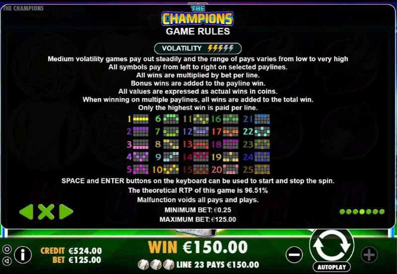 The Champions Symbols Paytable