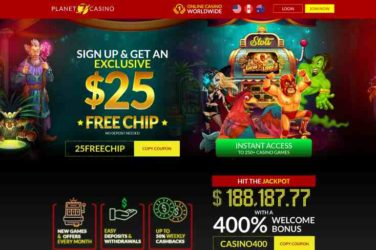 Planet 7 casino bonus code 25FREECHIP
