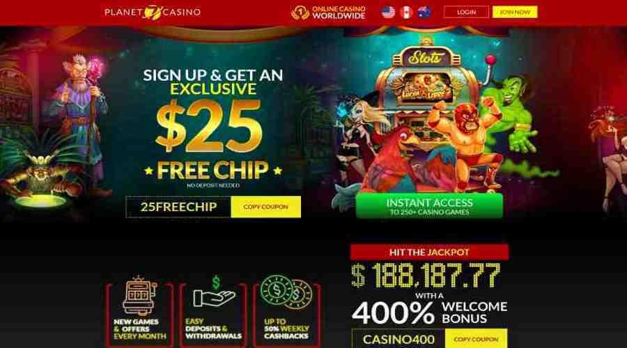 Planet 7 casino bonus code 25FREECHIP