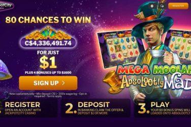 Jackpot City Casino 80 Free Chances to win
